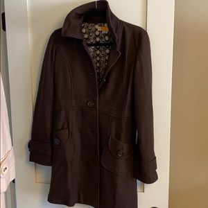 Chocolate-brown Tulle pea coat
